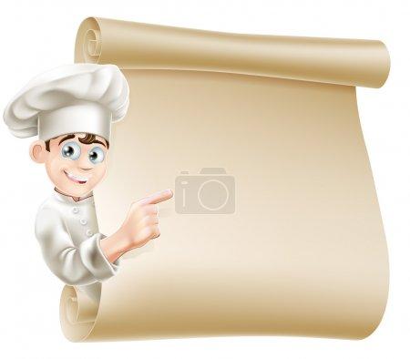 Illustration pour Illustration d'un personnage de chef heureux pointant vers un rouleau peut-être avec un menu dessus - image libre de droit