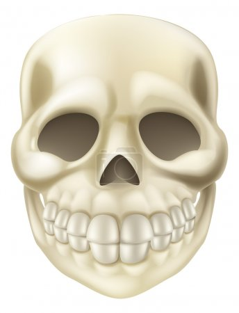 Illustration for An illustration of a cute smiling cartoon Halloween Scull - Royalty Free Image