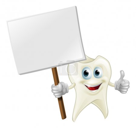 Illustration for An illustration of a cartoon tooth man character mascot holding a sign - Royalty Free Image