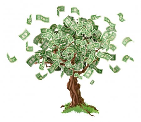 Business or savings concept of a money tree with g...
