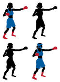 An illustration of a female boxer or boxercise woman boxing or working out Color and simple silhouette outline versions included as well as versions with protective headwear and without