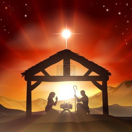 Foto de Navidad Belén cristiano con el bebé Jesús en el pesebre en silueta, y estrella de Belén - Imagen libre de derechos