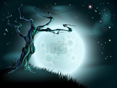 Illustration pour Une effrayante scène bleue d'Halloween avec pleine lune, nuages, colline et arbre effrayant - image libre de droit