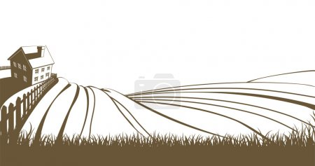 Illustration for An illustration of an idyllic farm landscape with farmhouse and rolling hills - Royalty Free Image