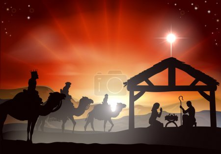 Illustration for Christmas nativity scene with baby Jesus in the manger in silhouette, three wise men or kings and star of Bethlehem - Royalty Free Image