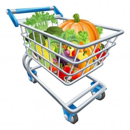 Illustration pour Illustration d'un chariot plein de légumes frais sains - image libre de droit