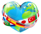 An illustration of a heart shaped world earth globe with the flags of many different countries flying around it