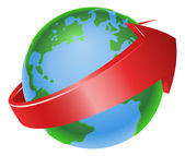 Illustration of a spinning globe with red arrow around it