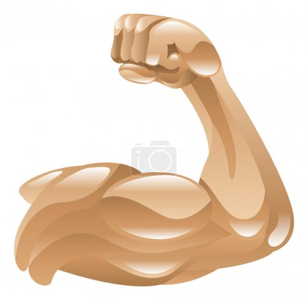 Strong muscle arm icon clipart illustration