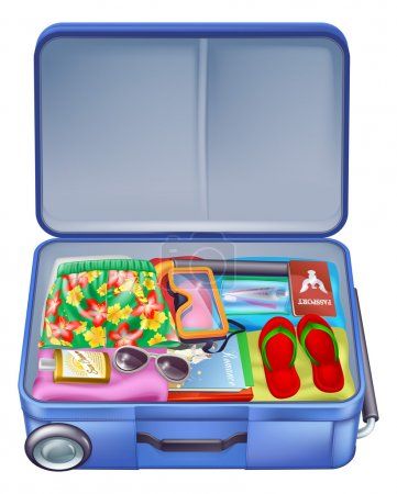 Illustration for Illustration of a full holiday vacation suitcase with all the essentials like summer clothing, sunglasses, sun cream, books and of course a passport - Royalty Free Image