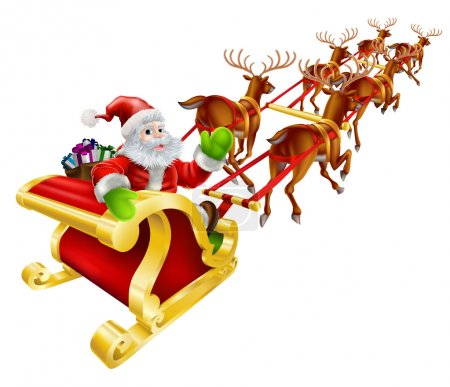 Illustration for Christmas illustration of Cartoon Santa Claus flying in his sled or sleigh and waving - Royalty Free Image