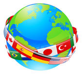 A conceptual illustration of a globe with the flags of lots of countries flying around it