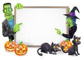 Halloween čarodějnice a frankenstein banner