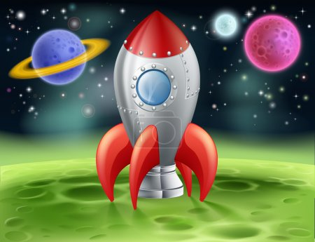Illustration for An illustration of a cartoon space rocket on an alien planet or moon - Royalty Free Image