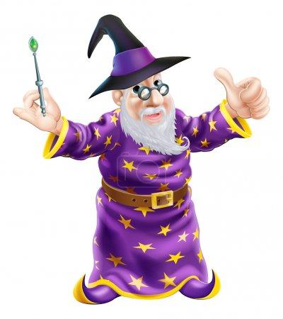 Illustration pour Illustration d'un personnage de magicien de bande dessinée heureux tenant une baguette et donnant un pouce vers le haut - image libre de droit