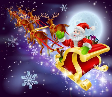 Christmas Santa flying in his sled or sleigh