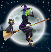 A Halloween illustration of a green witch flying on her broom with her cat in front of a star lit night sky with full moon