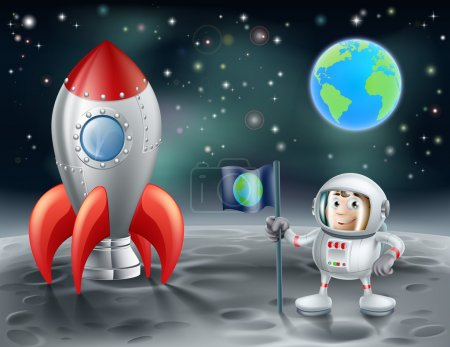 Illustration for An illustration of a cartoon astronaut and vintage space rocket on the moon with the planet earth in the distance - Royalty Free Image