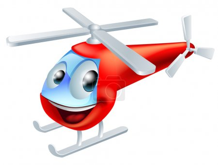 Illustration for Illustration of a cute red helicopter childrens cartoon character - Royalty Free Image