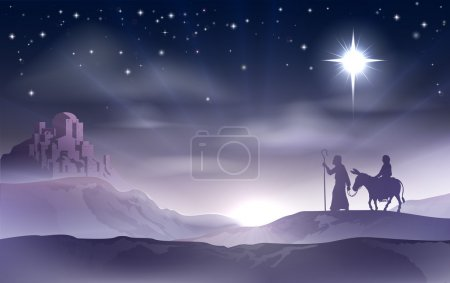 Photo for An illustration of Mary and Joseph in the dessert with a donkey on Christmas Eve searching for a place to stay. Bethlehem city in the background. Nativity story illustration. - Royalty Free Image
