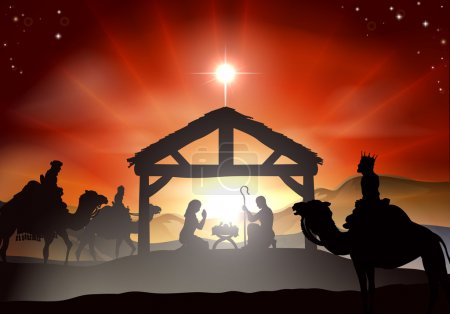 Photo for Nativity Christmas scene with baby Jesus in the manger in silhouette, three wise men or kings and star of Bethlehem - Royalty Free Image