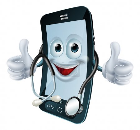 Phone man with a stethoscope