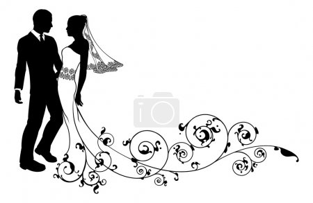 Illustration for Bride and groom at their wedding, perhaps having first dance or about to kiss, with beautiful bridal dress and abstract floral pattern train. - Royalty Free Image