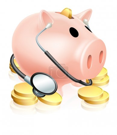 Illustration for An illustration of a piggy bank wearing a stethoscope with gold coins. Concept for health insurance, healthcare costs or a financial health check - Royalty Free Image