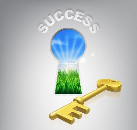 Illustration pour Clé de la réussite illustration conceptuelle d'un lever de soleil idyllique sur champs vus à travers une serrure avec un signe de clé et le succès d'or au-dessus de lui, pourrait se rapportent également aux ciel bleu pensant ou battus. - image libre de droit