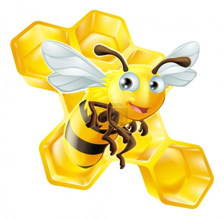 An illustration of a cute cartoon bee in front of ...