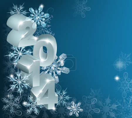 New Year or Christmas 2014 Snowflakes Background