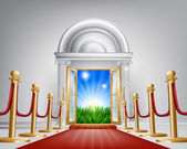 A red carpet grand luxury entrance door leading into a perfect idyllic green field landscape with sunrise Represents a fresh start or future happiness new opportunities or similar concepts