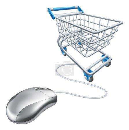 Illustration pour Illustration de panier de souris d'ordinateur, un concept pour l'achat en ligne sur Internet - image libre de droit