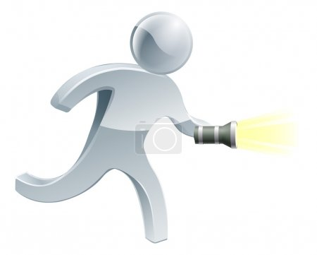 Illustration for Searching flashlight man looking for something with a torch - Royalty Free Image