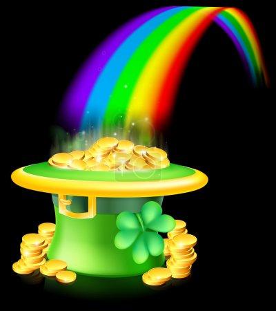Illustration pour Cartoon vert St Patricks Day chanceux chapeau Leprechaun plein de pièces d'or avec un trèfle ou un trèfle à la fin d'un arc-en-ciel - image libre de droit