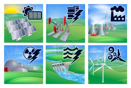 Different types of power or energy generation with...