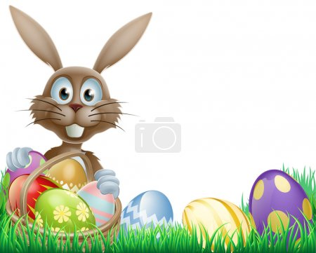 Illustration for A cartoon Easter bunny rabbit with an Easter eggs basket - Royalty Free Image