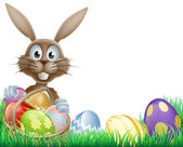 A cartoon Easter bunny rabbit with an Easter eggs basket