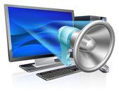 Počítač megafon koncept