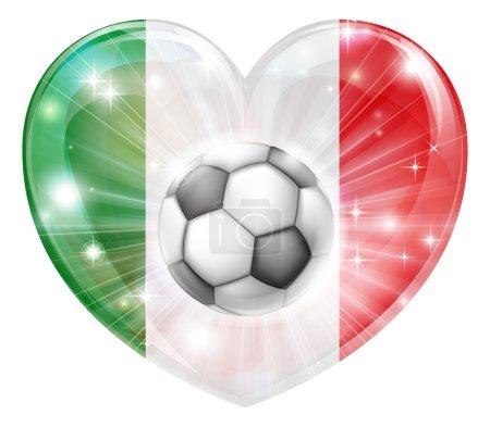 Italy flag soccer heart flag