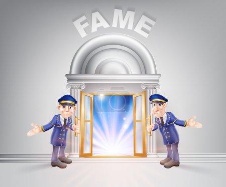 Illustration pour Concept célèbre d'un portier planant une porte ouverte à la célébrité avec la lumière qui circule à travers elle . - image libre de droit