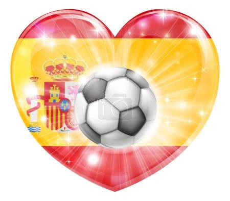 Spain soccer heart flag