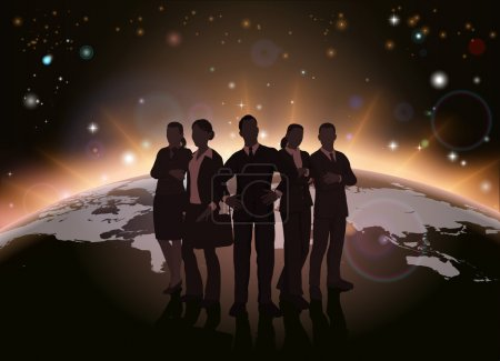 Illustration for Global team concept of dynamic business team in silhouette with globe in the background - Royalty Free Image