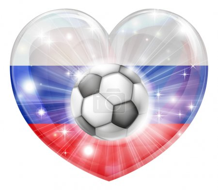 Russia soccer heart flag