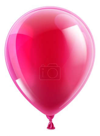 Illustration for An illustration of an isolated pink birthday or party balloon - Royalty Free Image