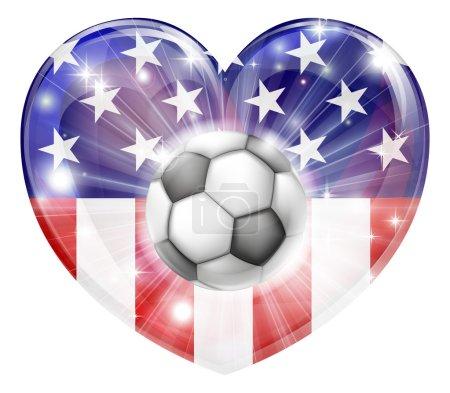 USA soccer heart flag