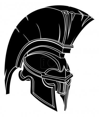 Illustration pour Illustration d'un casque de guerrier ou de gladiateur spartiate ou troyenne - image libre de droit