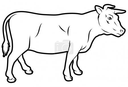 Illustration pour Une illustration d'une vache, pourrait être une étiquette pour la viande bovine - image libre de droit