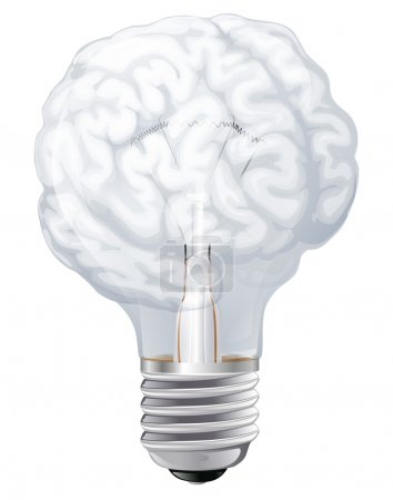 Illustration for Conceptual illustration of a light bulb shaped like a human brain. Concept for ideas inspiration or similar - Royalty Free Image