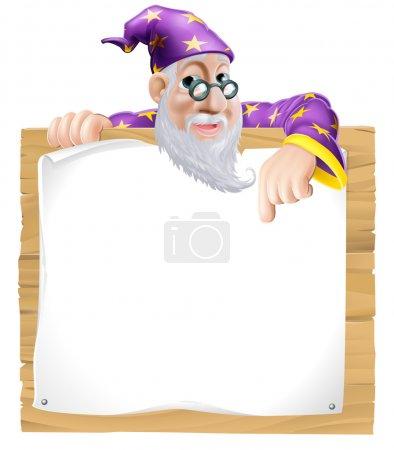 Illustration pour Amical sorcier homme avec une barbe jetant un coup d'oeil et pointant vers un signe en bois - image libre de droit